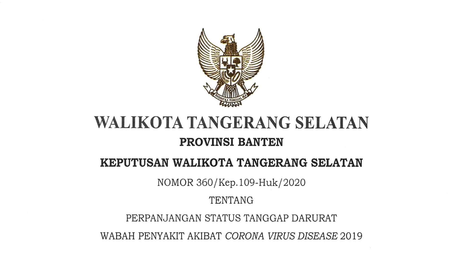 Keputusan Walikota Tangerang Selatan Nomor 360/Kep.190-Huk/2020