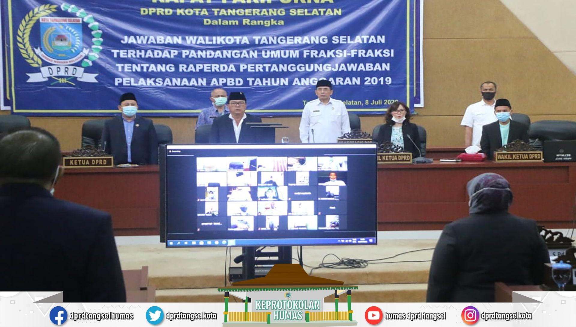 Rapat Paripurna Pandangan Umum Fraksi ttg Pelaksanaan APBD TA. 2019