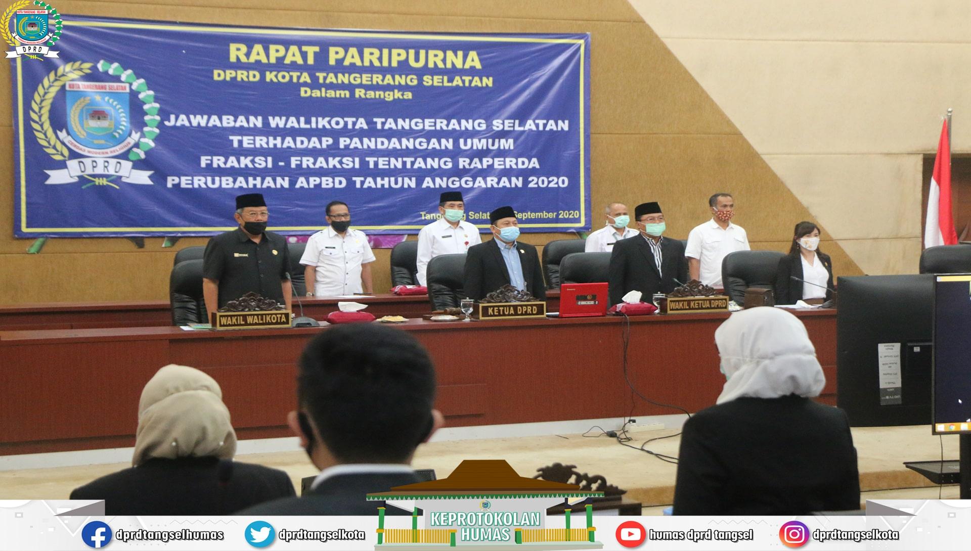 Paripurna Jawaban Walikota thd Pandum Fraksi ttg RPAPBD TA 2020
