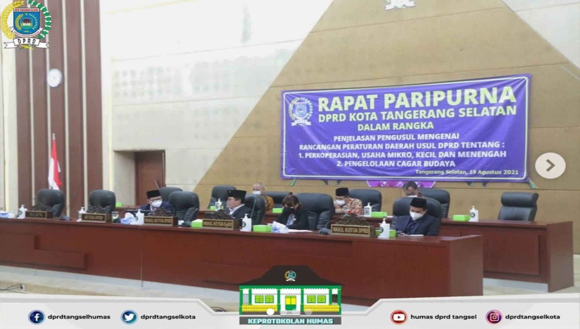DPRD Tangsel menggelar 2 agenda Rapat Paripurna