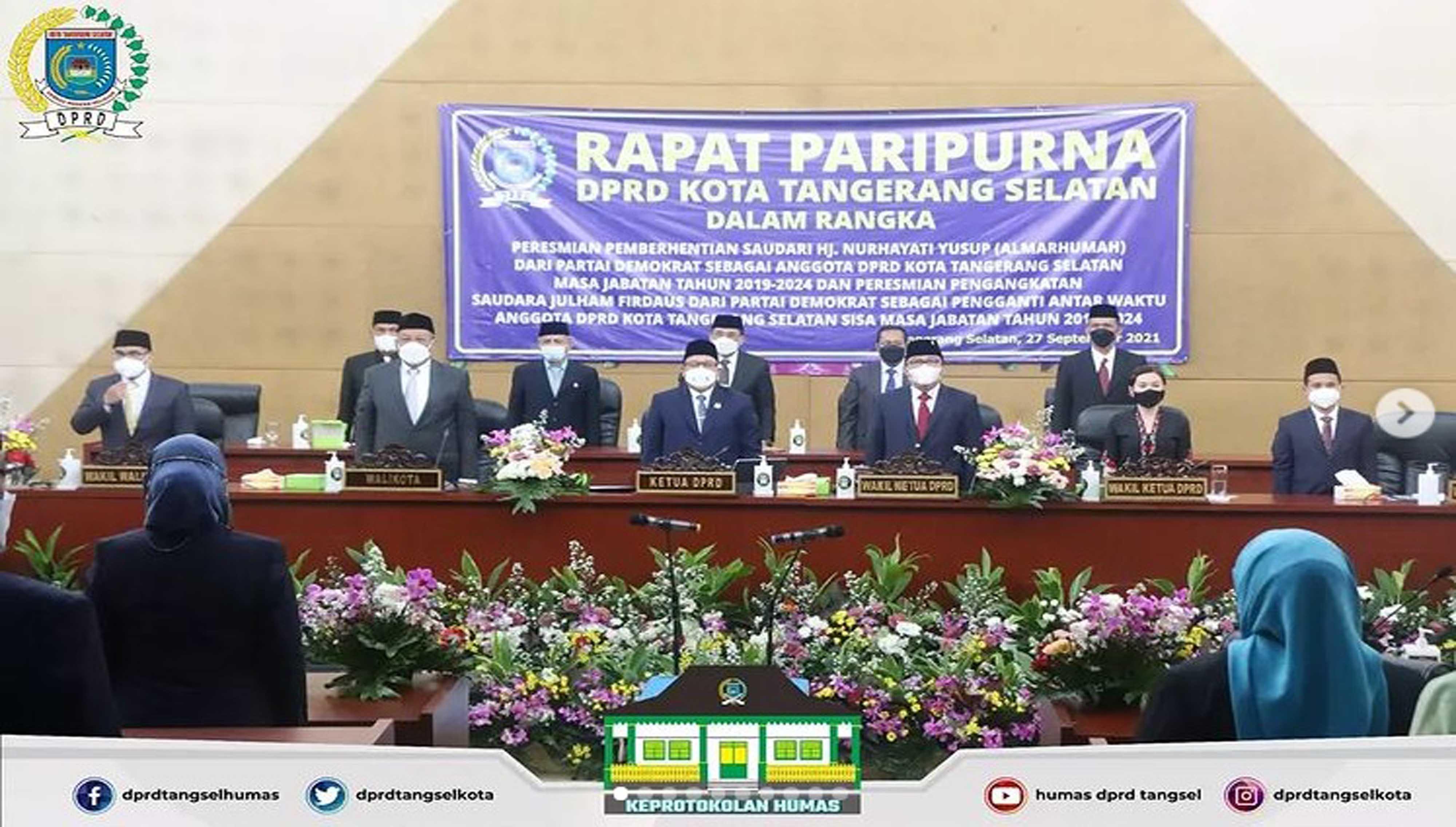 DPRD Kota Tangerang Selatan melaksanakan 3 Agenda Rapat Paripurna