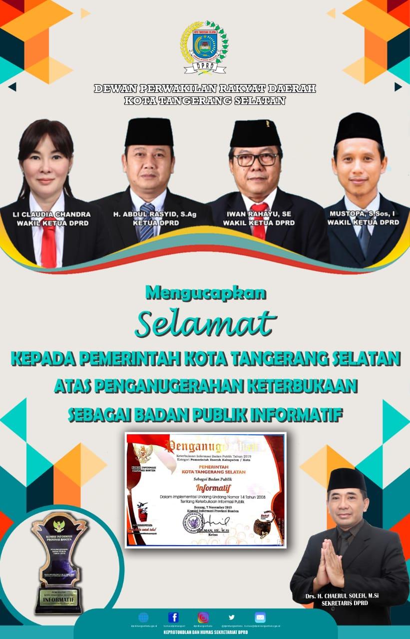 Selamat kepada Pemerintah Kota Tangerang Selatan