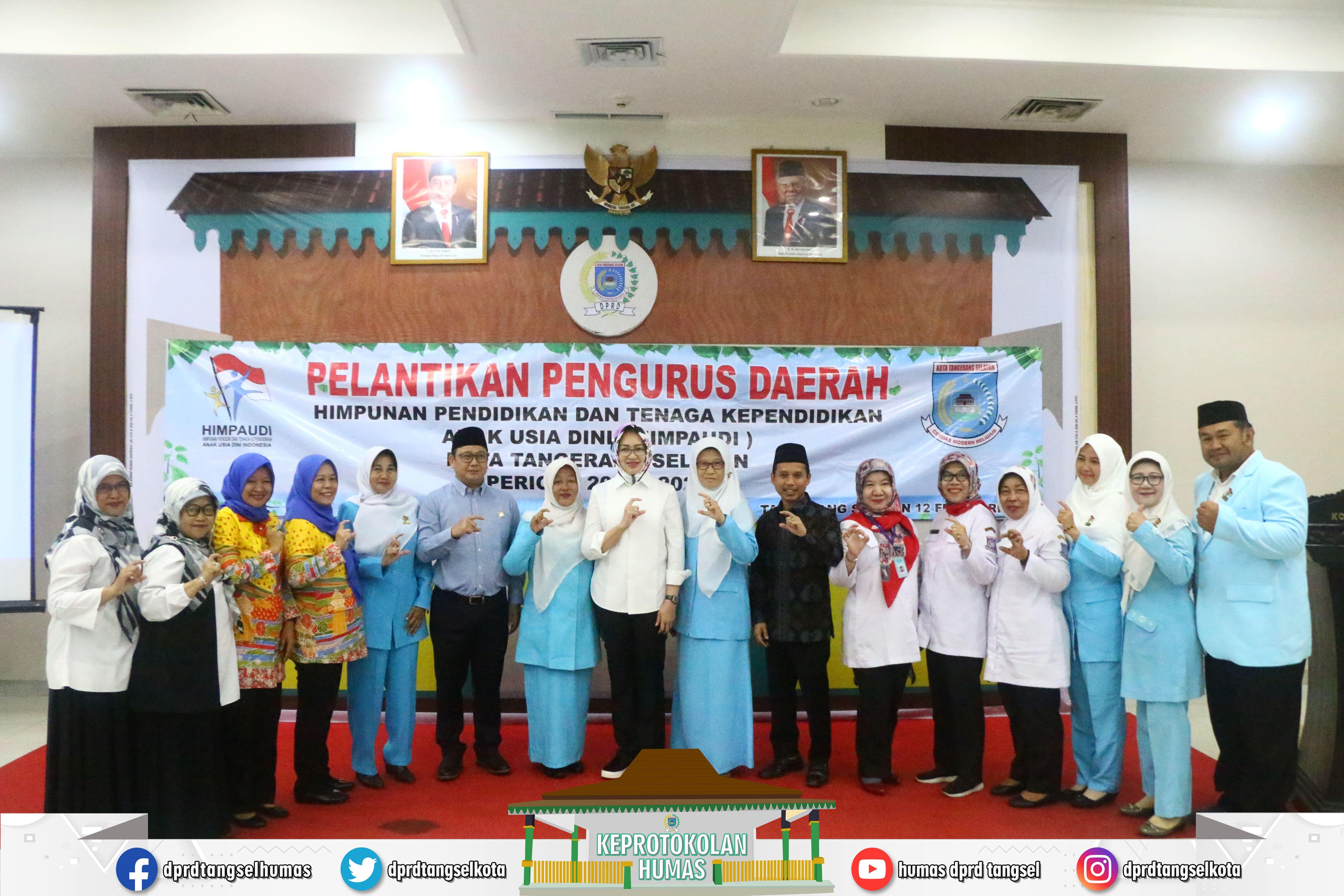 Pimpinan DPRD & Walikota menghadiri Pelantikan HIMPAUDI Kota Tangsel